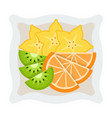 pieces fruit for breakfast on a plate icon vector image vector image