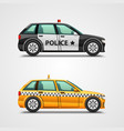 Police cars and taxis