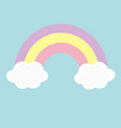 rainbow and two clouds in the sky love magic card vector image vector image