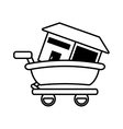 real estate house shop cart outline vector image