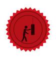 red circular seal with man knocking punching bag vector image vector image