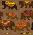 seamless decorative pattern with circus bears vector image