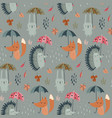 seamless pattern with hand drawn wild vector image