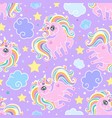 seamless pattern with rainbow unicorns clouds vector image vector image