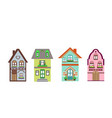 set detailed colorful cottage houses vector image