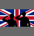 silhouette england soldier on united kingdom flag vector image vector image