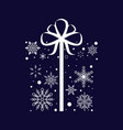 snowflake gift box christmas and new year vector image vector image