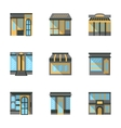 Store facades flat icons vector image vector image