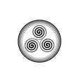 triskelion or triskele symbol triple spiral celtic vector image
