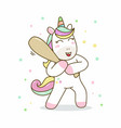 unicorn hold stick baseball vector image
