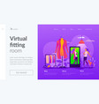 virtual fitting room landing page template vector image