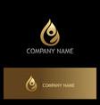 water drop eco people gold logo vector image vector image