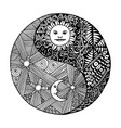 yin yang doodle zentangl moon at night vector image