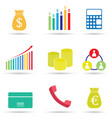 colorful business icon set isolated on white vector image