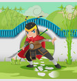 china asia armor warrior background vector image
