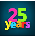 Twenty five years paper sign vector image