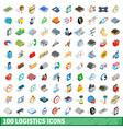 100 logistics icons set isometric 3d style vector image vector image