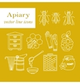 Apiary thin line icons set vector image