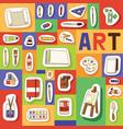 Art studio seamless pattern studying in art