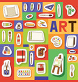 art studio seamless pattern studying in vector image vector image