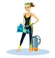 Beautiful athletic young scuba diver vector image
