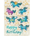 Birthday card with cute unicorns cartoon vector image