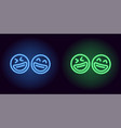 blue and green neon laughing emoji fool day vector image