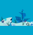blue underwater landscape with sunken ship vector image