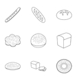Bread set icons in outline style Big collection vector image
