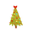 bright green christmas tree decorated with lights vector image vector image