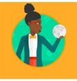 Business woman holding globe vector image vector image