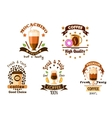 Cafe badges with coffee drinks and pastry vector image vector image