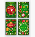christmas sale winter holidays discounts banners vector image vector image