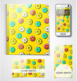 Corporate set of objects with the design donut vector image vector image