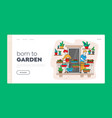 couple characters care plants at balcony garden vector image