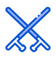 crossed police batons icon outline vector image vector image