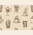 cups coffee background in vintage style vector image vector image