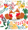 cute fox couple in floral flower seamless pattern vector image