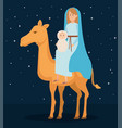 cute mary virgin with jesus in camel characters vector image vector image