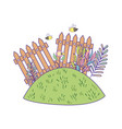 cute wooden fence in the garden vector image