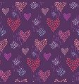 dark pattern with pink hearts and dotted elements vector image vector image