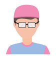doctor avatar with pink clothes vector image vector image