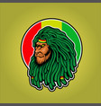 dreadlocks head lion rasta mascot vector image vector image