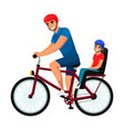father cycling cheerful child on bike outdoor vector image vector image