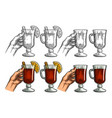 female hand holding a glass wine vintage vector image