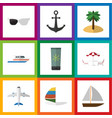 flat icon beach set of yacht coconut spectacles vector image vector image