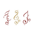 Floral design music note vector image