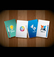 four diary and pens corporate identity template vector image