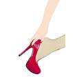 Girl in fishnet stockings and red shoes vector image vector image