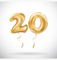 golden number 20 twenty metallic balloon party vector image vector image